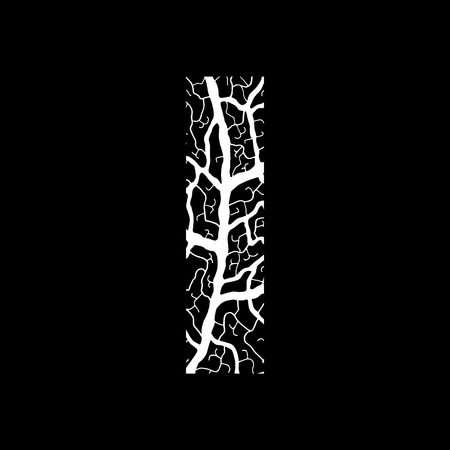 Nature alphabet, ecology decorative font. Capital letter I filled with leaf veins pattern white on black background. Leaves texture hand draw nature alphabet. Vector illustration.