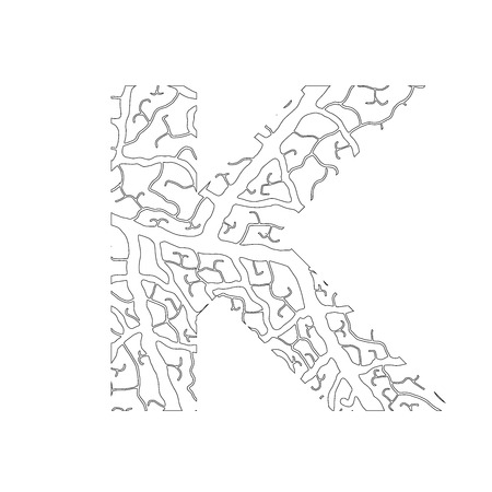 Nature alphabet, ecology decorative font. Capital letter K filled with leaf veins pattern black on white outline background. Leaves texture hand draw nature alphabet. Vector illustration.