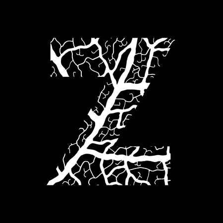 Nature alphabet, ecology decorative font. Capital letter Z filled with leaf veins pattern white on black background. Leaves texture hand draw nature alphabet. Vector illustration.