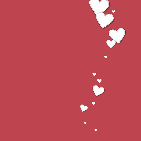 clutter: Cutout paper hearts Right wave on crimson background. Illustration