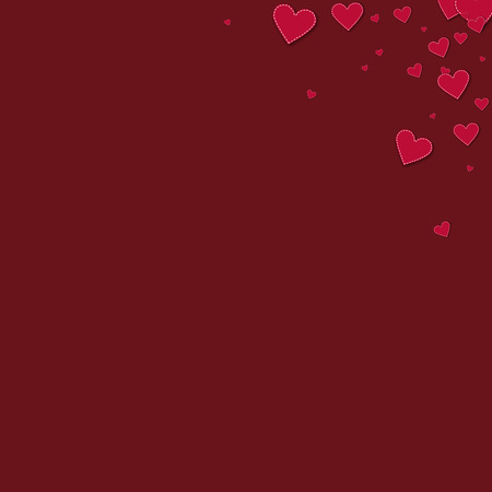 Red stitched paper hearts Top right corner gradient on wine red background. Illustration