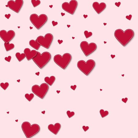 Red stitched paper hearts Abstract scatter on light pink background. Illustration