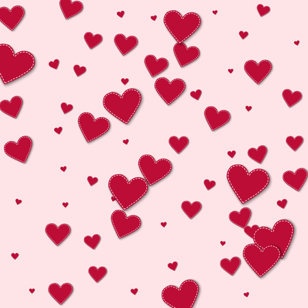 Red stitched paper hearts Scatter vertical lines with red stitched paper hearts on light pink background.
