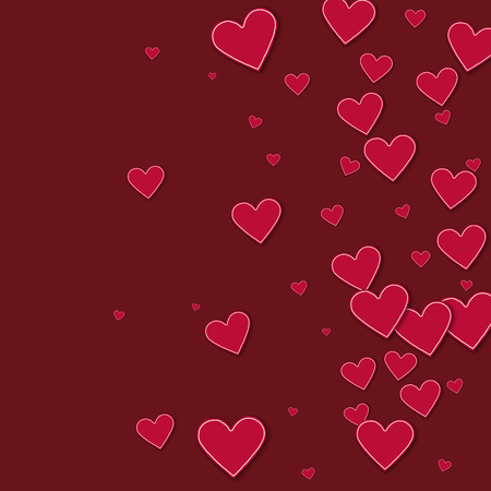 Cutout red paper hearts Right gradient on wine red background. Illustration