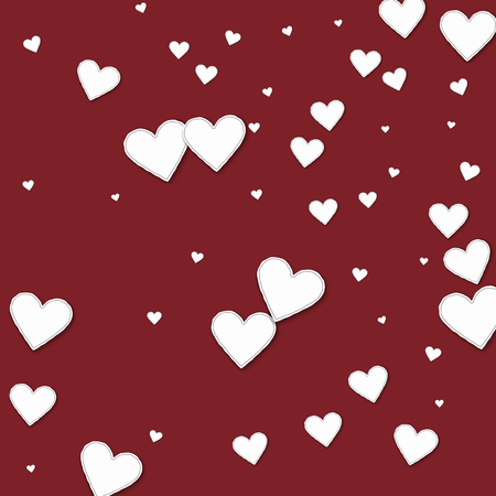 clutter: Cutout paper hearts Random scatter on wine red background. Illustration