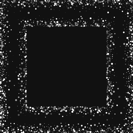 clutter: Random falling white dots Square abstract frame with random falling white dots on black background.