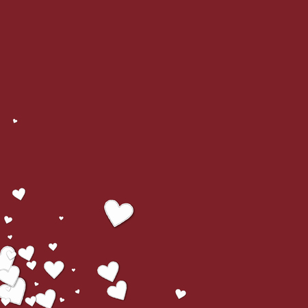 clutter: Beautiful paper hearts Messy bottom left corner on wine red background. Illustration