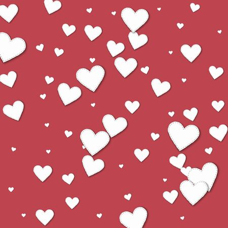 clutter: Cutout white paper hearts Scatter vertical lines with cutout white paper hearts on crimson background. Illustration