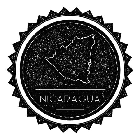 texturized: Nicaragua Map Label with Retro Vintage Styled Design. Hipster Grungy Nicaragua Map Insignia Vector Illustration. Country round sticker.