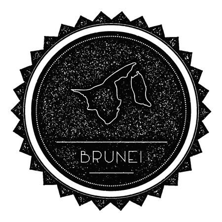 brunei darussalam: Brunei Darussalam Map Label with Retro Vintage Styled Design. Hipster Grungy Brunei Darussalam Map Insignia Vector Illustration. Country round sticker. Illustration