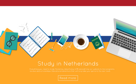 streamers: Study in Netherlands concept for your web banner or print materials. Top view of a laptop, books and coffee cup on national flag. Flat style study abroad website header. Illustration