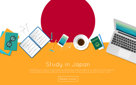 asian business: Study in Japan concept for your web banner or print materials. Top view of a laptop, books and coffee cup on national flag. Flat style study abroad website header. Illustration