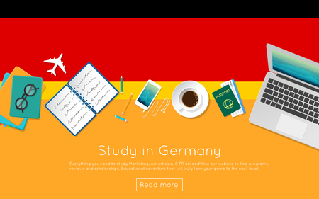Study in Germany concept for your web banner or print materials. Top view of a laptop, books and coffee cup on national flag. Flat style study abroad website header.