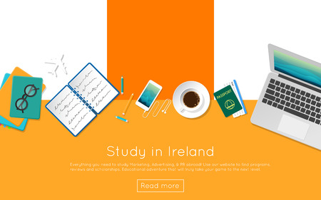 ireland flag: Study in Ireland concept for your web banner or print materials. Top view of a laptop, books and coffee cup on national flag. Flat style study abroad website header.