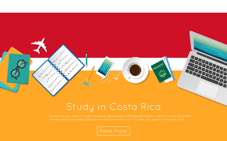 Study in Costa Rica concept for your web banner or print materials. Top view of a laptop, books and coffee cup on national flag. Flat style study abroad website header. Illustration