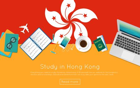 Study in Hong Kong concept for your web banner or print materials. Top view of a laptop, books and coffee cup on national flag. Flat style study abroad website header. Illustration