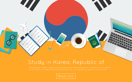 Study in Korea, Republic of concept for your web banner or print materials. Top view of a laptop, books and coffee cup on national flag. Flat style study abroad website header. Illustration