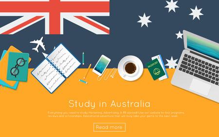 귀하의 웹 배너 또는 인쇄물에 대한 호주 개념을 공부하십시오. 노트북,도 서 및 국기에 커피 컵의 상위 뷰. 플랫 스타일 유학 웹 사이트 헤더.