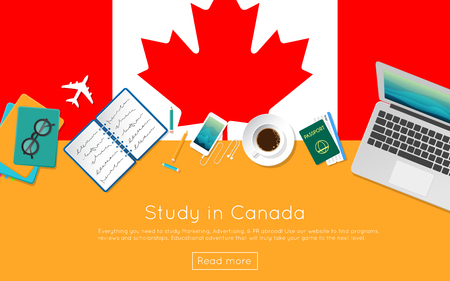 Study in Canada concept for your web banner or print materials. Top view of a laptop, books and coffee cup on national flag. Flat style study abroad website header. Ilustrace