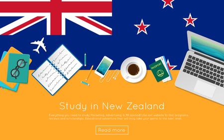 웹 배너 또는 인쇄물에 대한 뉴질랜드 개념을 공부하십시오. 노트북,도 서 및 국기에 커피 컵의 상위 뷰. 플랫 스타일 유학 웹 사이트 헤더. 일러스트