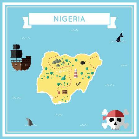 cartoon bomb: Flat treasure map of Nigeria. Colorful cartoon with icons of ship, jolly roger, treasure chest and banner ribbon. Flat design vector illustration.