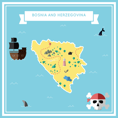 herz: Flat treasure map of Bosnia and Herzegovina. Colorful cartoon with icons of ship, jolly roger, treasure chest and banner ribbon. Flat design vector illustration.