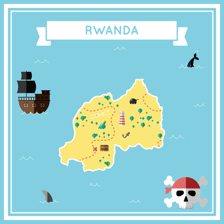 cartoon bomb: Flat treasure map of Rwanda. Colorful cartoon with icons of ship, jolly roger, treasure chest and banner ribbon. Flat design vector illustration.