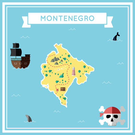 cartoon bomb: Flat treasure map of Montenegro. Colorful cartoon with icons of ship, jolly roger, treasure chest and banner ribbon. Flat design vector illustration.