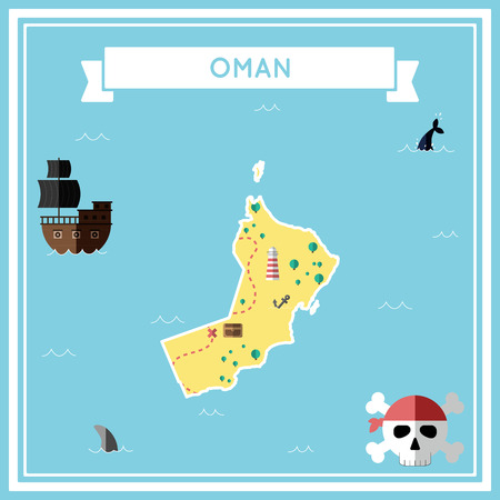 cartoon bomb: Flat treasure map of Oman. Colorful cartoon with icons of ship, jolly roger, treasure chest and banner ribbon. Flat design vector illustration.