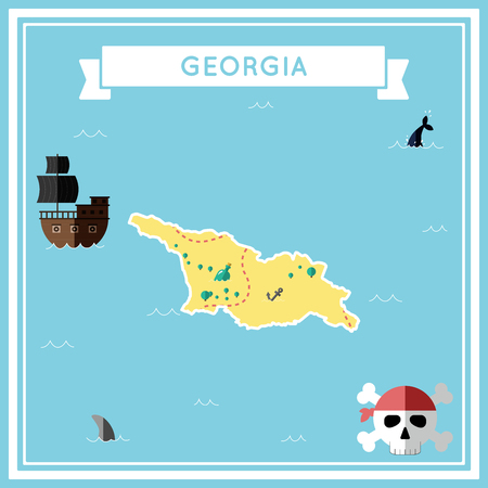cartoon bomb: Flat treasure map of Georgia. Colorful cartoon with icons of ship, jolly roger, treasure chest and banner ribbon. Flat design vector illustration.