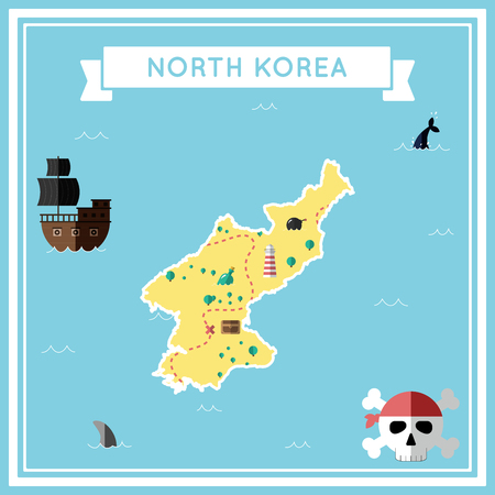 Flat treasure map of Korea, Democratic People's Republic Of. Colorful cartoon with icons of ship, jolly roger, treasure chest and banner ribbon. Flat design vector illustration.