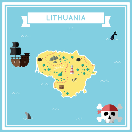 Flat treasure map of Lithuania. Colorful cartoon with icons of ship, jolly roger, treasure chest and banner ribbon. Flat design vector illustration.