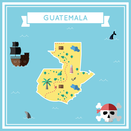 Flat treasure map of Guatemala. Colorful cartoon with icons of ship, jolly roger, treasure chest and banner ribbon. Flat design vector illustration. Illustration