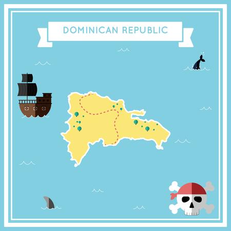 Flache Schatzkarte der Dominikanischen Republik. Bunte Karikatur mit Ikonen des Schiffs, des lustigen Rogers, der Schatztruhe und des Fahnenbandes. Flache Designvektorillustration.