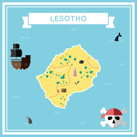 cartoon bomb: Flat treasure map of Lesotho. Colorful cartoon with icons of ship, jolly roger, treasure chest and banner ribbon in flat design vector illustration. Illustration