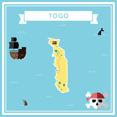 cartoon bomb: Flat treasure map of Togo. Colorful cartoon with icons of ship, jolly roger, treasure chest and banner ribbon in flat design vector illustration. Illustration