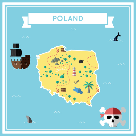 Flat treasure map of Poland in colorful cartoon with icons of ship, jolly roger, treasure chest and banner ribbon flat design vector illustration.