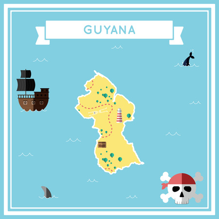 guyanese: Flat treasure map of Guyana in colorful cartoon with icons of ship, jolly roger, treasure chest and banner ribbon flat design vector illustration.