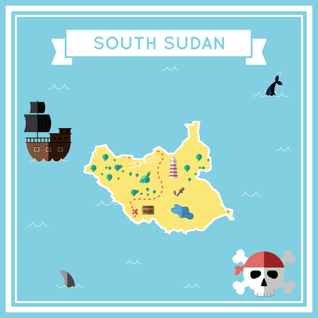 cartoon bomb: Flat treasure map of South Sudan. Illustration