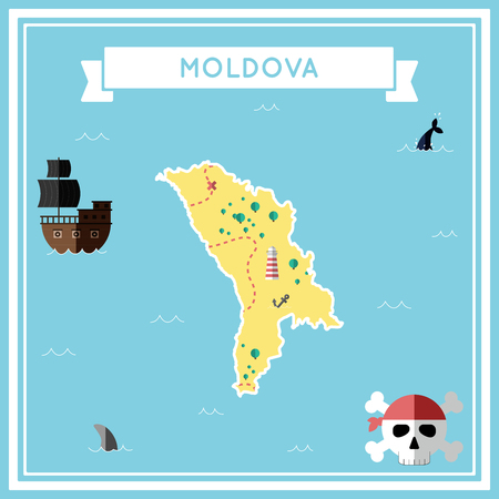 Flat treasure map of Moldova, Republic of. Colorful cartoon with icons of ship, jolly roger, treasure chest and banner ribbon. Flat design vector illustration.
