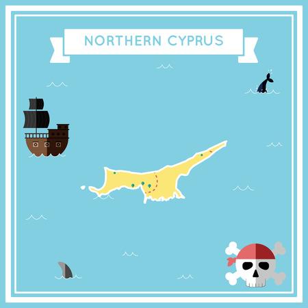 Flat treasure map of Northern Cyprus.