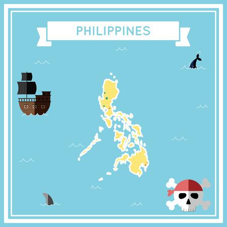 フィリピンのフラットの宝の地図。船、ジョリーロ ジャー、宝箱とバナー リボンのアイコンとカラフルな漫画。フラットなデザインのベクトル図で