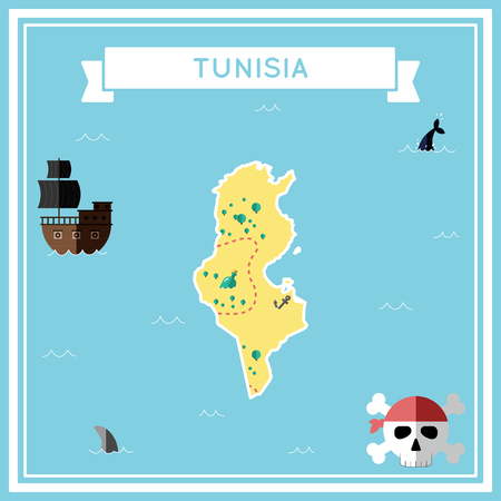 tun: Flat treasure map of Tunisia. Colorful cartoon with icons of ship, jolly roger, treasure chest and banner ribbon. Flat design vector illustration.