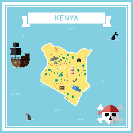 cartoon bomb: Flat treasure map of Kenya colorful cartoon with icons of ship, jolly roger, treasure chest and banner ribbon flat design vector illustration.