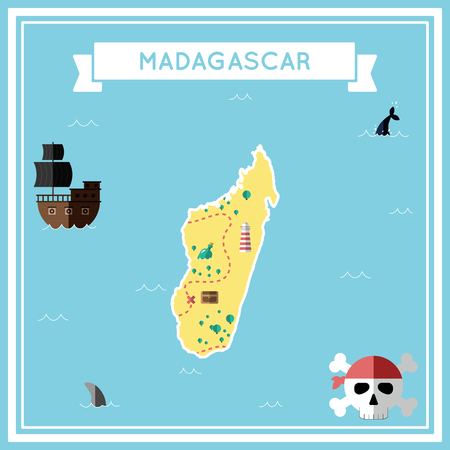 cartoon bomb: Flat treasure map of Madagascar. Colorful cartoon with icons of ship, jolly roger, treasure chest and banner ribbon. Flat design vector illustration. Illustration