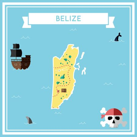 cartoon bomb: Flat treasure map of Belize. Colorful cartoon with icons of ship, jolly roger, treasure chest and banner ribbon. Flat design vector illustration.