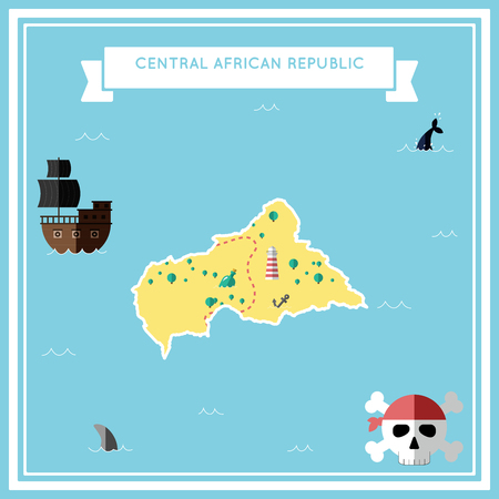 Flat treasure map of Central African Republic. Colorful cartoon with icons of ship, jolly roger, treasure chest and banner ribbon. Flat design vector illustration.