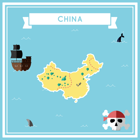 cartoon bomb: Flat treasure map of China. Colorful cartoon with icons of ship, jolly roger, treasure chest and banner ribbon. Flat design vector illustration.