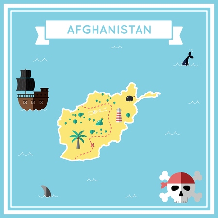 afghan: Flat treasure map of Afghanistan. Colorful cartoon with icons of ship, jolly roger, treasure chest and banner ribbon. Flat design vector illustration.