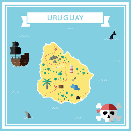 cartoon bomb: Flat treasure map of Uruguay. Colorful cartoon with icons of ship, jolly roger, treasure chest and banner ribbon. Flat design vector illustration. Illustration